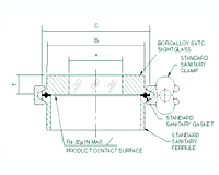 Schematic Diagram of BoroAlloy™ Glass/Metal Alloy Sanitary Sight Glasses